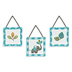 Sweet Jojo Designs Mod Elephant 3-Piece Wall Hanging Set in Turquoise/White