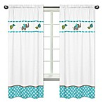 Sweet Jojo Designs Mod Elephant Window Panel Pair in Turquoise/White