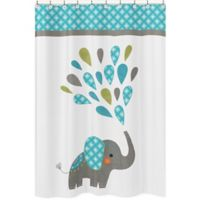 Sweet Jojo Designs Mod Elephant Shower Curtain in Turquoise/White