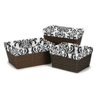 Sweet Jojo Designs Sloane Damask Basket Liners in Black/White (Set of 3)