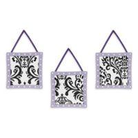 Sweet Jojo Designs Sloane Wall Hangings in Purple/White (Set of 3)