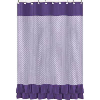 Sweet Jojo Designs Sloane Shower Curtain in Purple/White - Buy White Ruffle Curtains From Bed Bath & Beyond