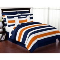 Sweet Jojo Designs Navy and Orange Stripe 4-Piece Twin Comforter Set