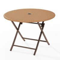 Crosley Palm Harbor Round Wicker Folding Table in Light Brown
