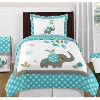 Sweet Jojo Designs Mod Elephant 4-Piece Twin Bedding Set in Turquoise/ White