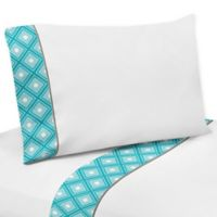 Sweet Jojo Designs Mod Elephant 4-Piece Queen Sheet Set in Turquoise/White