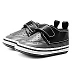 Stepping Stones Size 9-12M Strapped Dress Sneaker in Black/Grey