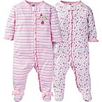 Gerber® Size 0-3M 2-Pack Zip-Front Floral/Stripe Footies in Pink