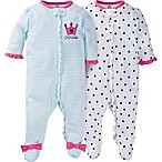 Gerber® Size 0-3M 2-Pack Zip-Front Princess Footies
