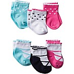 Gerber® Size 3-6M 6-Pack Fancy Jersey Ankle Bootie Socks in Pink/Blue