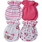 Gerber® Size 0-3M 4-Pack Floral/Stripe Mittens in Pink