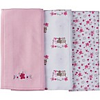 Gerber® 3-Pack Floral Burp Cloths in Pink