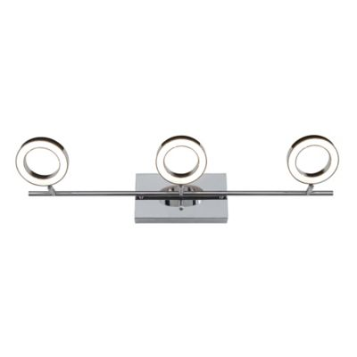3 Light Halo Wall Mount LED Vanity Light Fixture In Polished Chrome