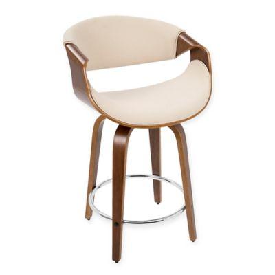 lumisource midcentury modern curvini counter stool in cream
