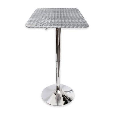 LumiSource Bistro Square Bar Table In Silver