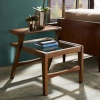 INK+IVY Rocket Side Table with Glass Top in Pecan