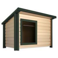 1-Door Outdoor Rustic Lodge Medium Dog House in Maple