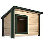 1-Door Outdoor Rustic Lodge Jumbo Dog House in Maple