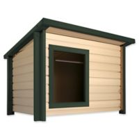 1-Door Outdoor Rustic Lodge Extra-Large Dog House in Maple