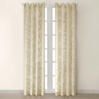 Figaro Grommet 84 Inch Window Curtain Panel In Tan