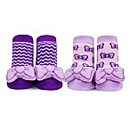 Waddle® 2-Pack Bow Rattle Socks in Purple
