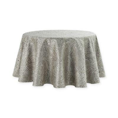 Waterford® Linens Esmeralda 70 Inch Round Tablecloth In Taupe