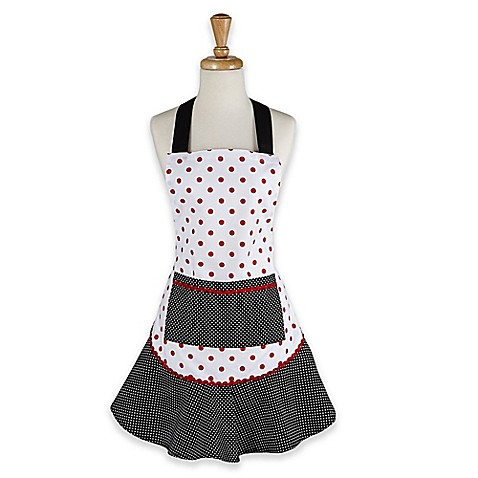 Adult Polka Dot Apron in Black with Ruffle Trim