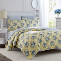 Laura Ashley® Linley King Quilt Set in Light Yellow