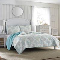 Laura Ashley® Saltwater Reversible Full/Queen Quilt Set in Blue