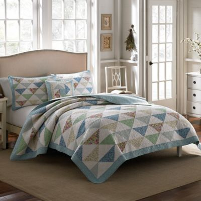Buy Patchwork Bed Quilts from Bed Bath   Beyond Laura Ashley  Theodora Full Queen Quilt in Aqua. Bedroom Quilts. Home Design Ideas