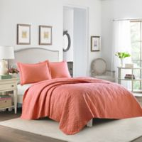 Laura Ashley® Solid Full/Queen Quilt Set in Coral