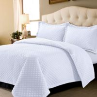 Tribeca Living Brisbane Solid Twin Quilt Set in White