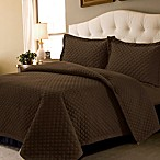 Tribeca Living Oversized Brisbane Solid Queen Quilt Set in Chocolate