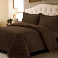 Tribeca Living Brisbane Solid Twin Quilt Set in Chocolate