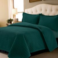 Tribeca Living Brisbane Solid Twin Quilt Set in Teal