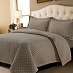 Tribeca Living Oversized Brisbane Solid Queen Quilt Set in Taupe