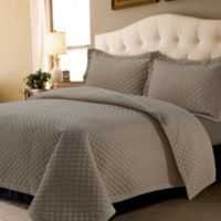 Tribeca Living Brisbane Solid Queen Quilt Set in Taupe