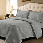 Tribeca Living Oversized Brisbane Solid King Quilt Set in Silver Grey