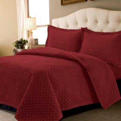 tribeca living brisbane solid queen quilt set in deep red - Tribeca Bedroom Set