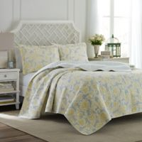 Laura Ashley® Joy Full/Queen Quilt Set in Grey/Yellow