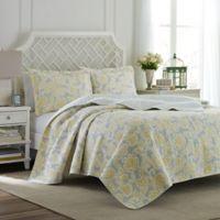 Laura Ashley® Joy Full/Queen Quilt Set in Grey/Yellow