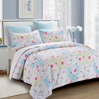 Rose Garden Reversible Full/Queen Quilt Set in White
