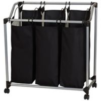 Household Essentials® Rolling Triple Laundry Sorter with Vented Bags in Black