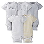 Gerber ONESIES® Brand Newborn 5-Pack Lamb Short-Sleeve Bodysuits in Soft Yellow/Grey