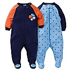 Gerber® Size 0-3M 2-Pack Zip-Front Sports Footies