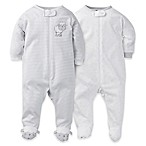 Gerber® Size 0-3M 2-Pack Zip-Front Lamb Footies in Grey/White