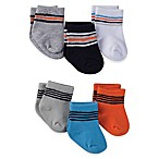 Gerber® Size 0-3M 6-Pack Cotton Blend Stripe Socks in Grey/Blue/Orange