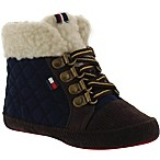 Tommy Hilfiger Size 0-3M Quilted Sherpa Boots in Navy/Brown