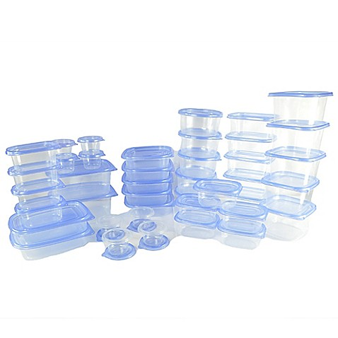 ley lahs store n stack 80 piece container set in blue clear bed bath beyond. Black Bedroom Furniture Sets. Home Design Ideas