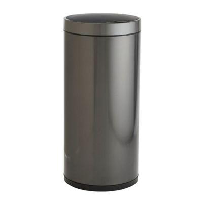 eko round 50liter stainless steel sensor trash bin in black